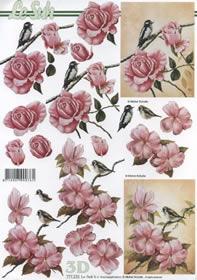 3D Bogen Rosen mit Vogel rosa - Format A4