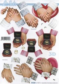 Feuille 3D Heiraten Hände - Format A4
