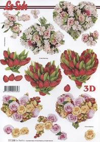Hojas de 3D 3 Blumenherzen - Formato A4