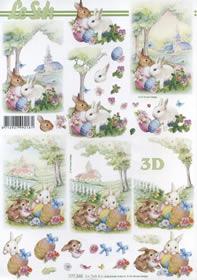3D Bogen Format A4 Osterhasen im Garten