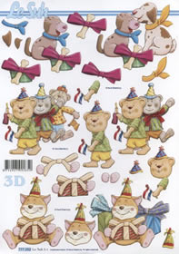 Feuille 3D 3x Partytiere - Format A4