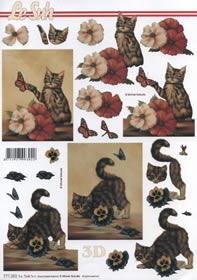 3D Bogen Kätzchen-2- - Format A4