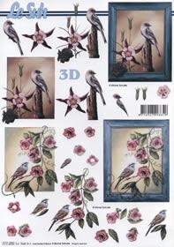 Hojas de 3D Format A4 Rahmen mit V?gel/Blumen