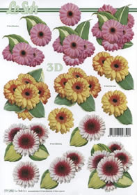 Hojas de 3D 3 x Blumen - Formato A4