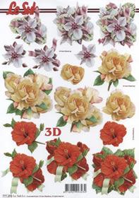 3D sheet Format A4-3 x Blumen