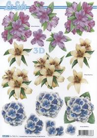 3D Bogen Format A4-Blumen Lila