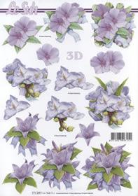 3D Bogen Format A4-Lila Blumen