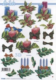 3D Bogen Format A4-Gesteck mit Kerzen