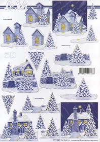 3D sheet Format A4-Häuser blau