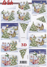 3D sheet Winterliches Dorf - Format A4