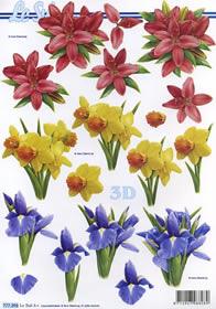 Hojas de 3D 3x Blumen - Formato A4
