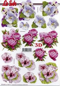 3D Bogen 3x Blumen lila+rosa+pink - Format A4