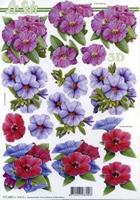 3D Bogen 3x Blumen rosa+lila+rot - Format A4