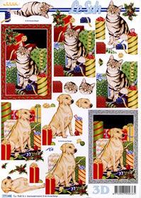 3D sheet Weihnachten Katze/Hund - Format A4