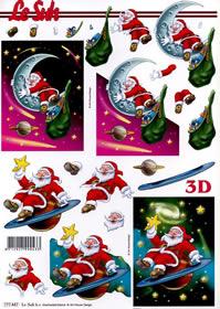 3D Bogen Weihnachtsmann auf Planet - Format A4