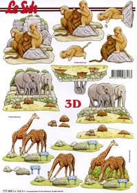 3D sheet Elefant,Affe,Giraffe Format A4