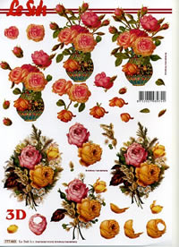 3D Bogen Blumen in Vase - Format A4