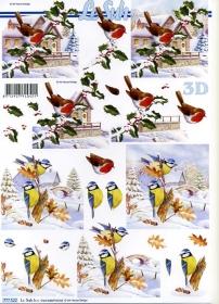 Feuille 3D Weihnachten +Rotkehlchen - Format A4