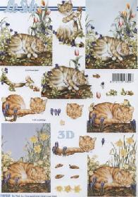Feuille 3D Katzen - Format A4