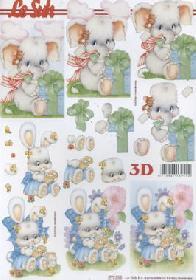 Hojas de 3D Elefant+Kaninchen - Formato A4