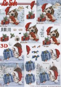 Feuille 3D Weihnachts Hund+Katze - Format A4
