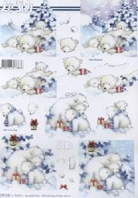 3D sheet Bären im Schnee - Format A4