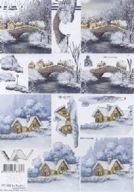 Hojas de 3D Winterlandschaft+Br?cke - Formato A4