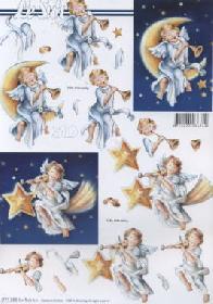 3D Bogen Engel+Mond+Sterne - Format A4
