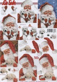 3D sheet Weihnachtsmann mit Hund - Format A4