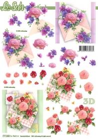 Hojas de 3D Blumen und Umschlag Format A4