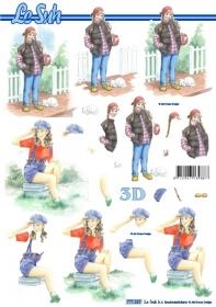 Feuille 3D Format A4 - Mädchen