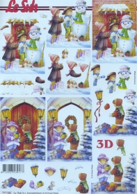 Carta per 3D Kinder und Schneemann