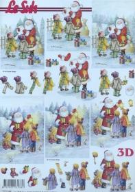 Carta per 3D Weihnachtsmann und Kinder