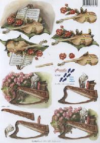 Carta per 3D Geige+Harfe+Blumen - Formato A4