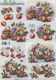 3D Bogen ?pfel+Erdbeeren im Korb - Format A4