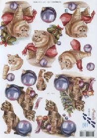 3D sheet 2x Weihnachts Katzen - Format A4
