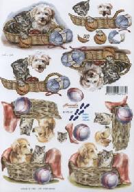 3D Bogen Hund+Katze im Körbchen - Format A4
