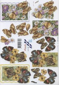 Feuille 3D Schmetterlinge+Blumen - Format A4
