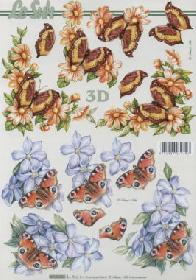Hojas de 3D Schmetterlinge+Blumen - Formato A4