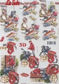 Feuille 3D Telefonistin+Kurier - Format A4