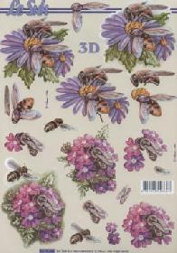 Feuille 3D Blumen mit Bienen - Format A4