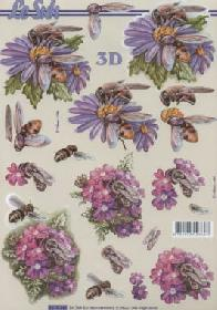 3D sheet Blumen mit Bienen - Format A4