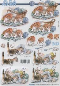 3D sheet Katzen mit Wolle - Format A4