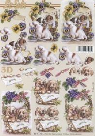 3D sheet Hunde im K?rbchen - Format A4