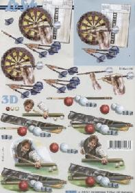 3D sheet Billiard+Dart - Format A4