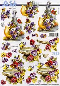 3D Bogen Vogel+Tränke+ Blumen - Format A4