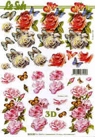 Hojas de 3D Rosen+Schmetterlinge - Formato A4