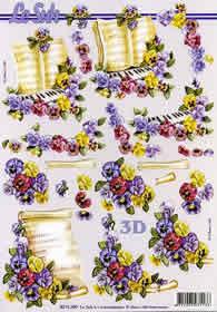 3D sheet Blumen+Notenblatt - Format A4
