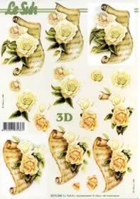 3D Bogen Jubiläum Weisse Rose - Format A4