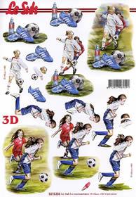 3D sheet Mädchen Fussball - Format A4